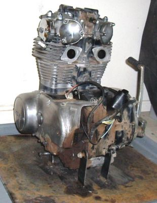Click to view full size image  ==============  650 engine and stand Here is my 650 engine and the stand I built to hold it.  The stand is a 2'x 2'x .25