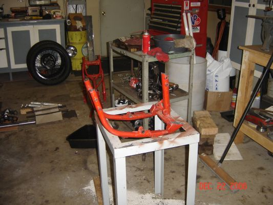 Click to view full size image  ==============  Work stand I'm going to build an engine stand from the old frame. Wan't to make it so I can run the motor in it.