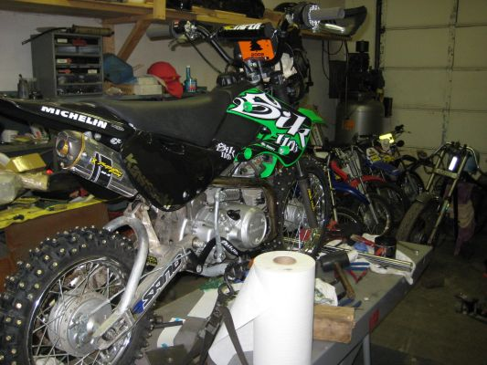 Click to view full size image  ==============  2006 Kawasaki KLX110 stroked to a 155cc lots of upgrades!!!!!! I know this is a XS650 site but i figure i would show off all my bikes that i have built/ building(after all is a bike ever realy completed?)
